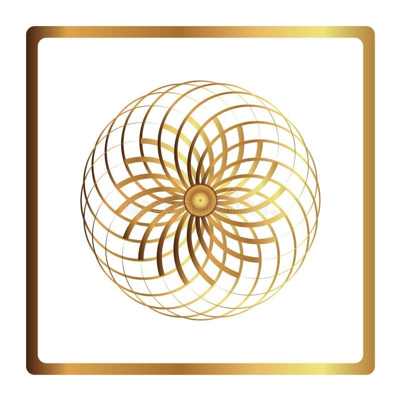 Modelo circular Icono geométrico Símbolo de la flor del oro en fondo negro Estilo moderno Ilustración del vector Símbolo simple M stock de ilustración