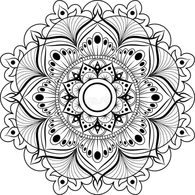 Modelo circular Mandala para la alheña, Mehndi, tatuaje, decoración Ornamento decorativo en estilo oriental étnico libre illustration