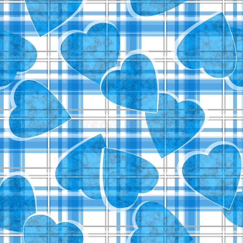 Modelo ckeckered blanco de la tela escocesa de los corazones azules inconsútiles de día de San Valentín ilustración del vector