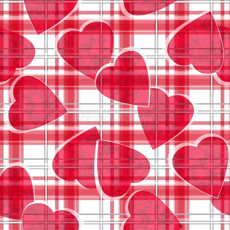 Modelo ckeckered blanco de la tela escocesa de los corazones rojos inconsútiles de día de San Valentín stock de ilustración