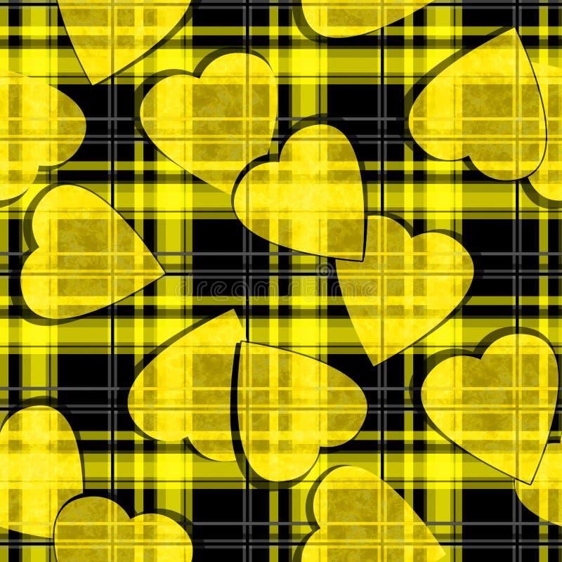 Modelo ckeckered negro de la tela escocesa de los corazones amarillos inconsútiles de día de San Valentín libre illustration