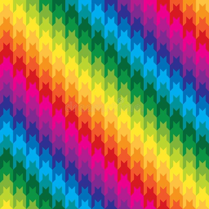 Modelo clásico del diente de perros en colores del arco iris stock de ilustración