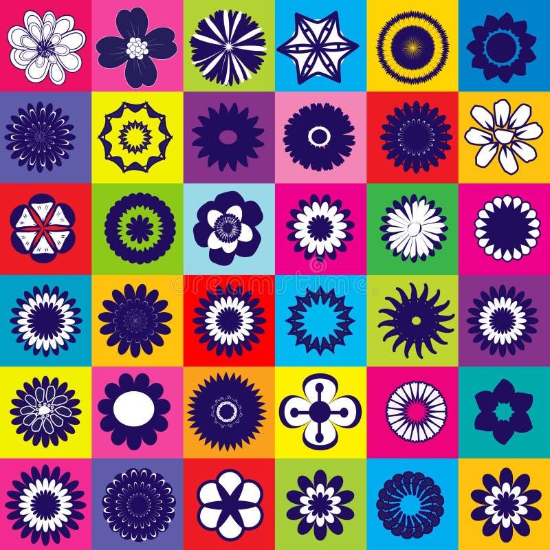 Modelo coloreado inconsútil con las flores stock de ilustración