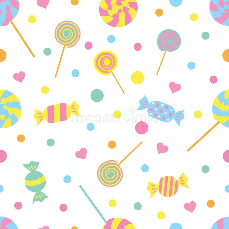 Modelo coloreado inconsútil con los caramelos y los corazones Ilustración del vector stock de ilustración