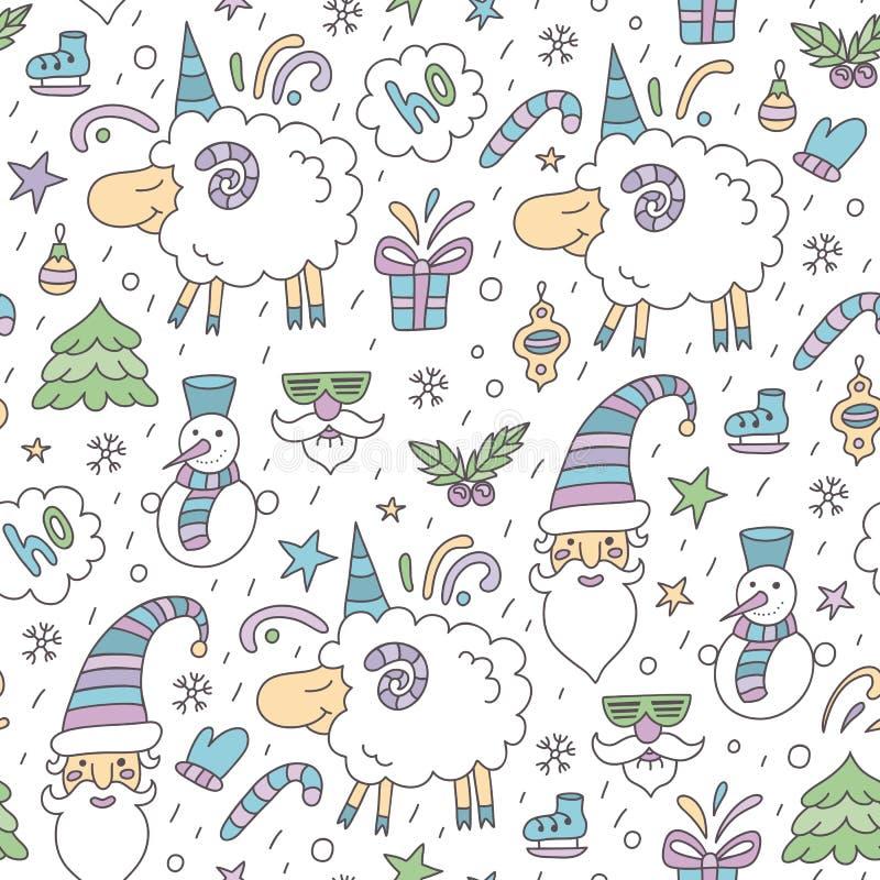 Modelo coloreado inconsútil de la Navidad con las ovejas ilustración del vector