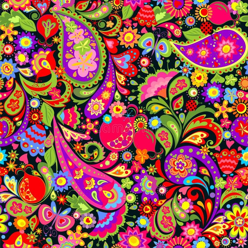 Modelo colorido étnico decorativo inconsútil floral con las flores, Paisley y la granada abstractas stock de ilustración