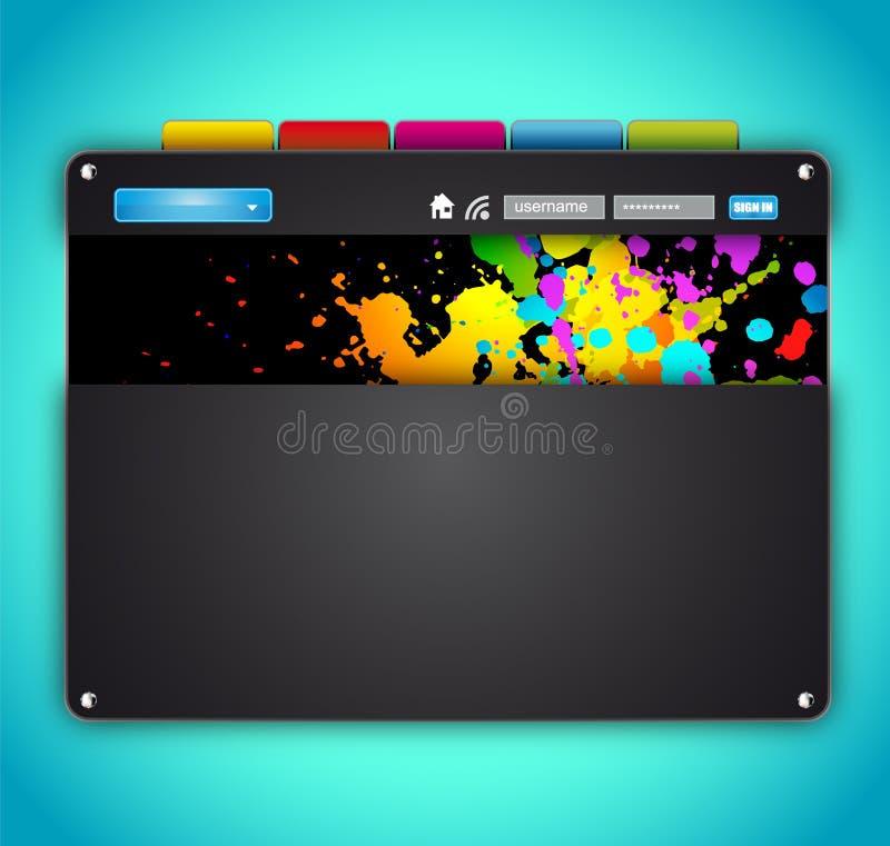 Modelo colorido artístico del Web site del estilo moderno stock de ilustración