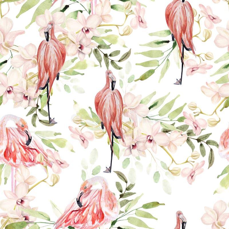 Modelo colorido brillante de la acuarela con las hojas, las flores y el pájaro del flamenco ilustración del vector