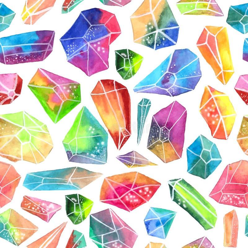 Modelo colorido de la gema de la acuarela, modelo cristalino hermoso ilustración del vector