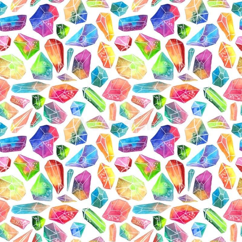 Modelo colorido de la gema de la acuarela, modelo cristalino hermoso stock de ilustración