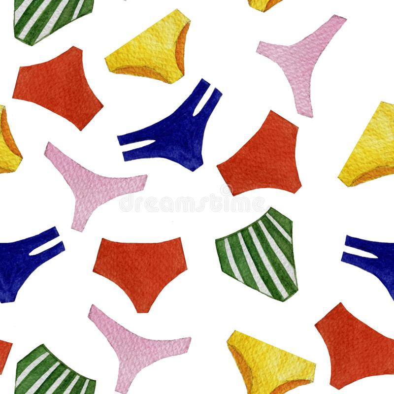 Modelo colorido de las bragas del traje de baño de la acuarela inconsútil de objetos aislados en el fondo blanco ilustración del vector