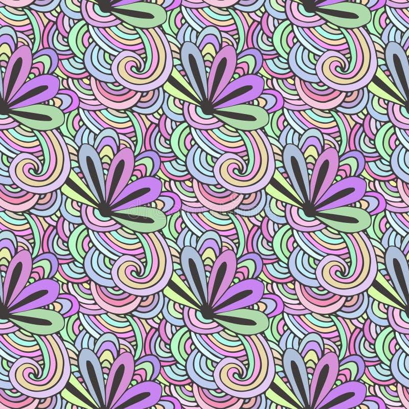 Modelo colorido del garabato con las flores en vector Página del colorante de Zentangle Fondo inconsútil creativo para la materia stock de ilustración