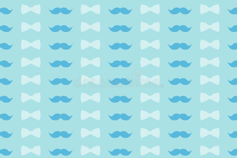 Modelo colorido en tonos suavemente azules - bigote y corbata de lazo para el diseño, el papel pintado y la decoración ilustración del vector