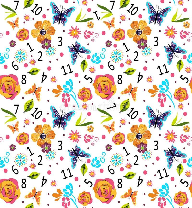Modelo colorido inconsútil con números y flores, ejemplo del vector agradable stock de ilustración