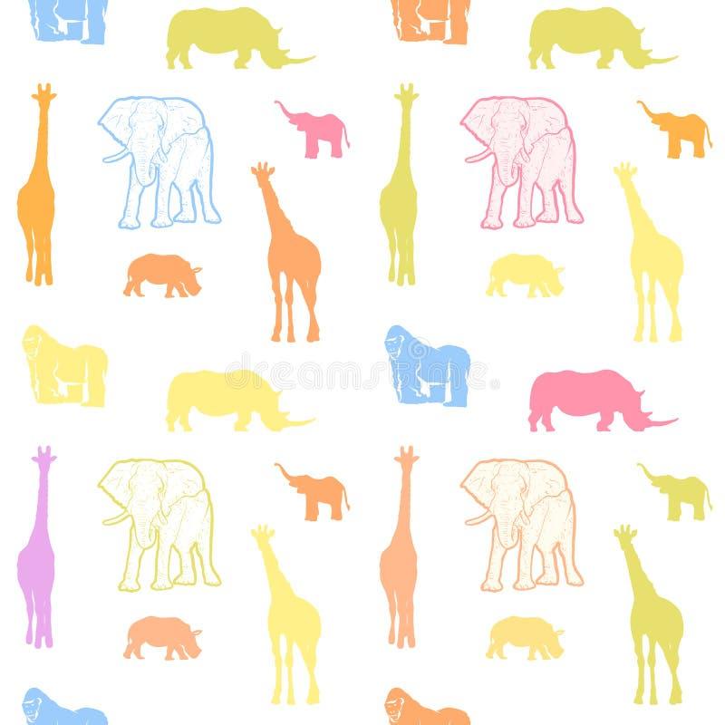 Modelo colorido inconsútil del arte de los animales de los niños libre illustration