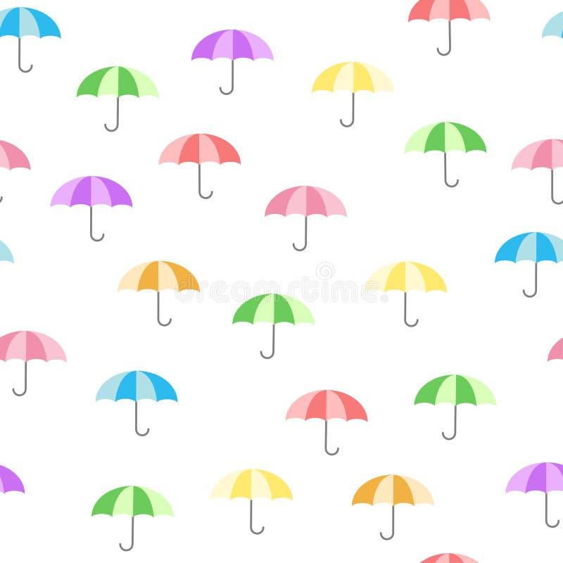 Modelo colorido lindo con los paraguas - estilo de la historieta del bebé ilustración del vector