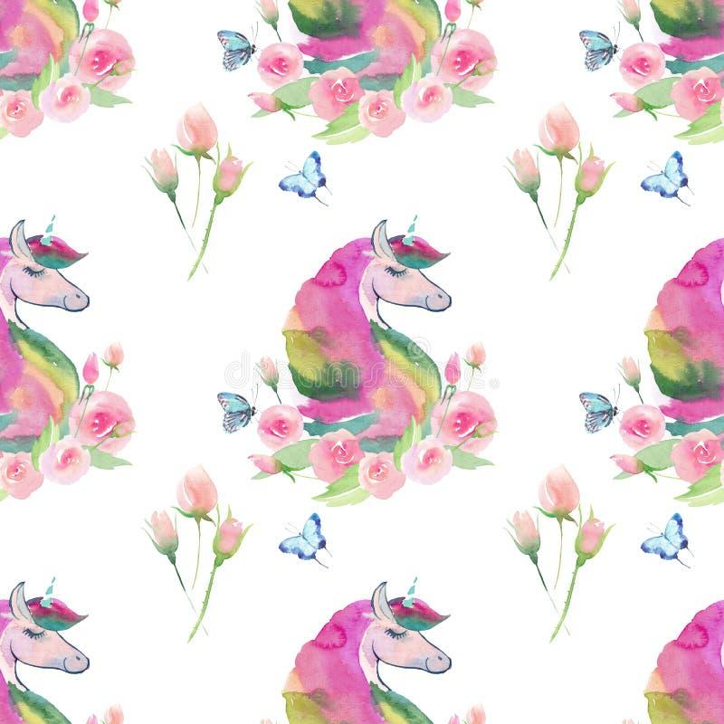 Modelo colorido mágico de hadas lindo precioso brillante de unicornios con las flores hermosas lindas en colores pastel de la pri libre illustration
