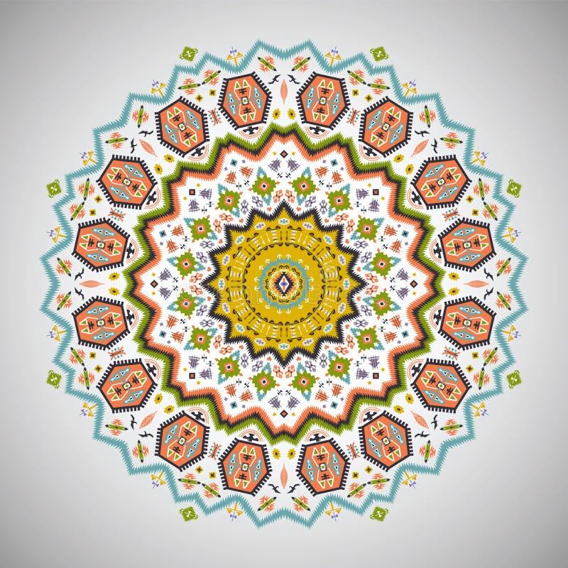 Modelo colorido redondo ornamental en estilo azteca ilustración del vector