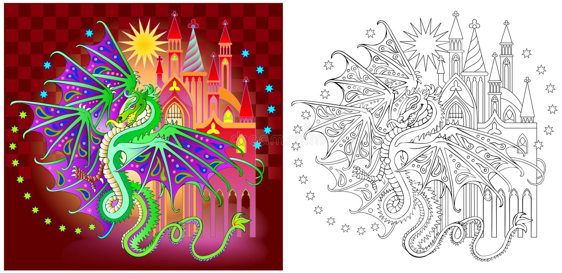 Modelo colorido y blanco y negro para colorear Ejemplo del dragón de la fantasía en el reino del país de las hadas libre illustration