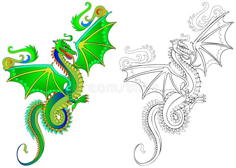 Modelo Colorido Y Blanco Y Negro Para Colorear Ejemplo Del Dragón ...