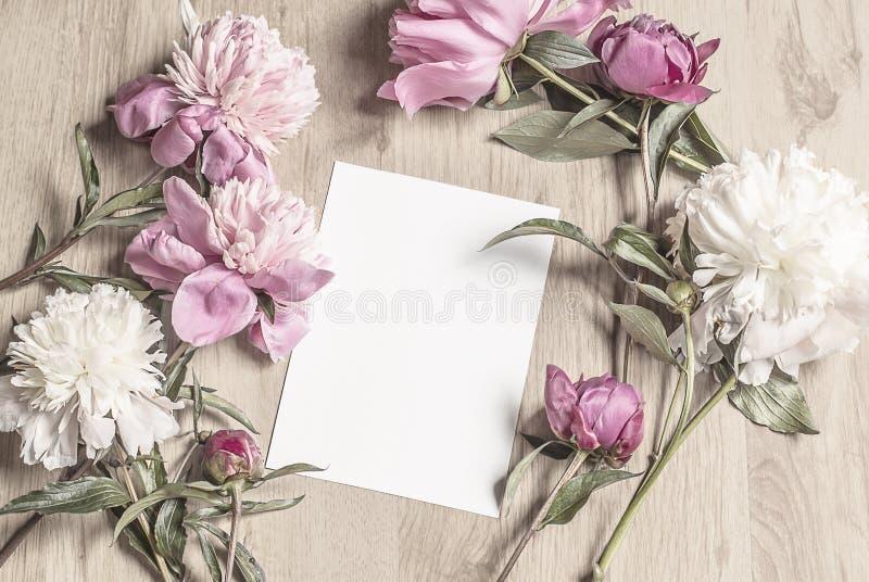 Modelo com as flores colocadas em torno de um cartão vertical fotografia de stock