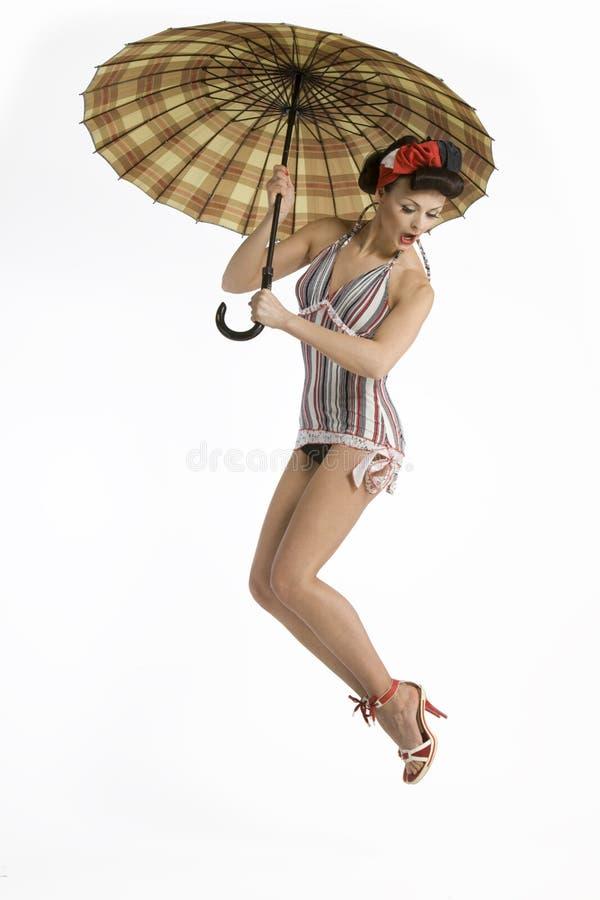 Modelo com guarda-chuva imagem de stock