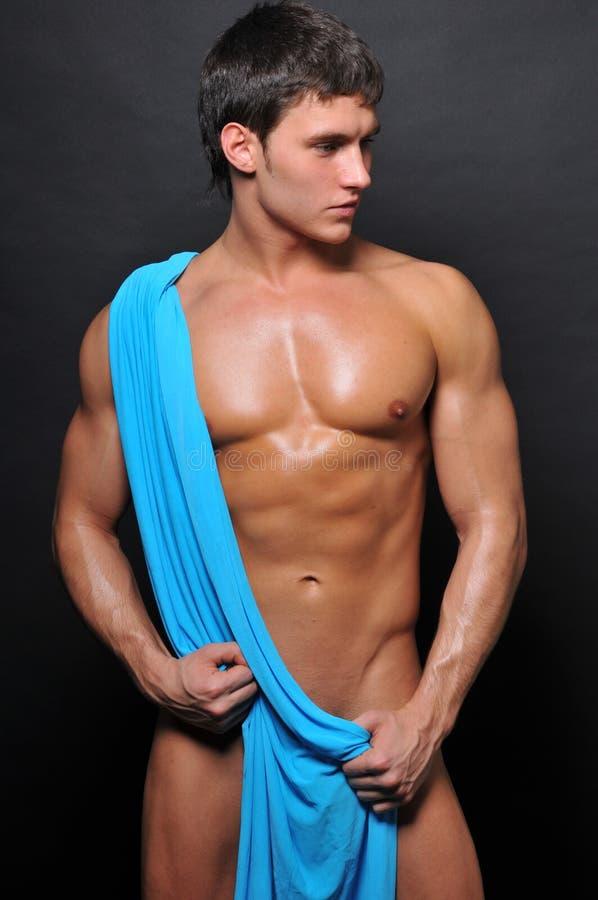 Modelo com matéria têxtil azul fotografia de stock royalty free