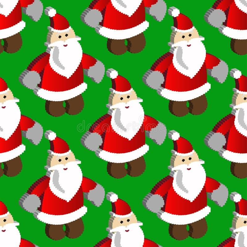 Modelo con el arte Papá Noel del pixel en un fondo stock de ilustración