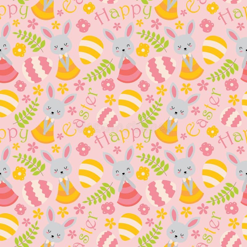 Modelo con el conejito, las flores y los huevos lindos en fondo rosado stock de ilustración