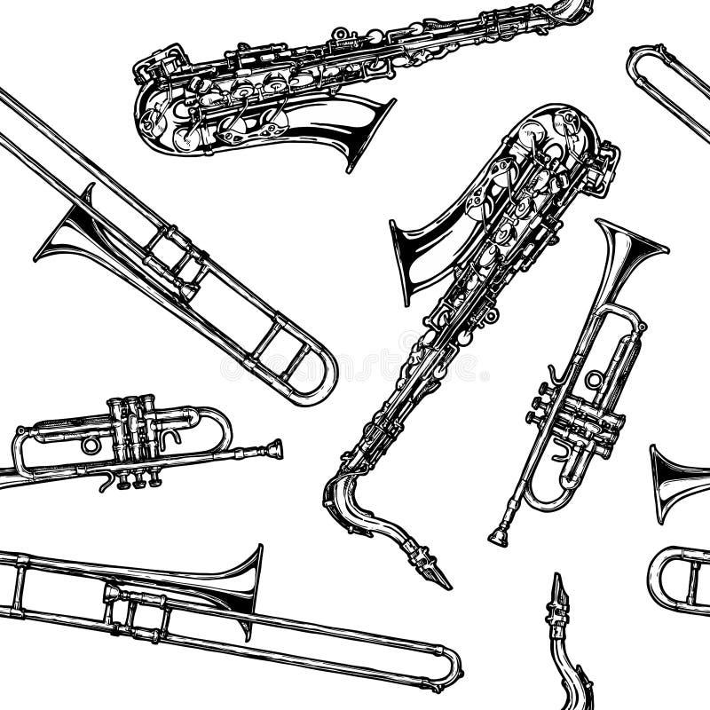 Modelo con el instrumento de viento de madera y el instrumento musical de cobre amarillo ilustración del vector