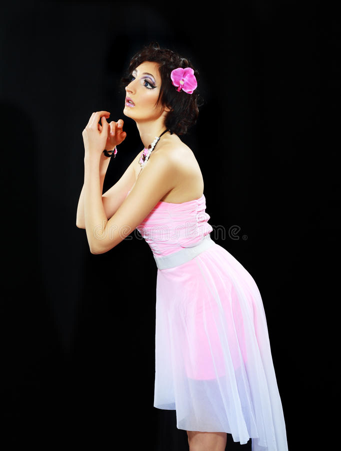 Modelo con el maquillaje de barbie imagen de archivo