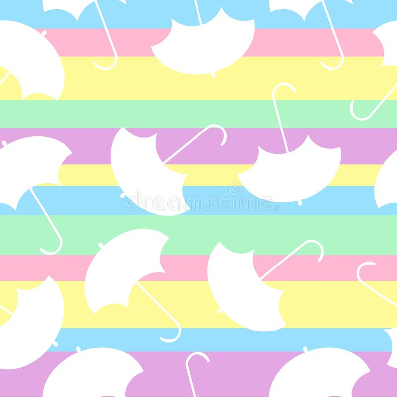 Modelo con el paraguas de los multicolors en extracto stock de ilustración