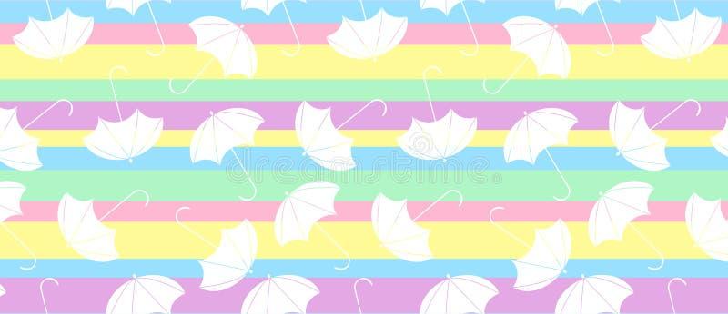Modelo con el paraguas de los multicolors en línea abstracta ilustración del vector