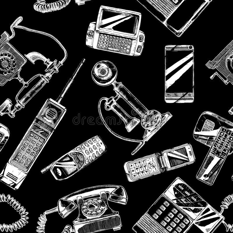 Modelo con el teléfono y el teléfono móvil ilustración del vector