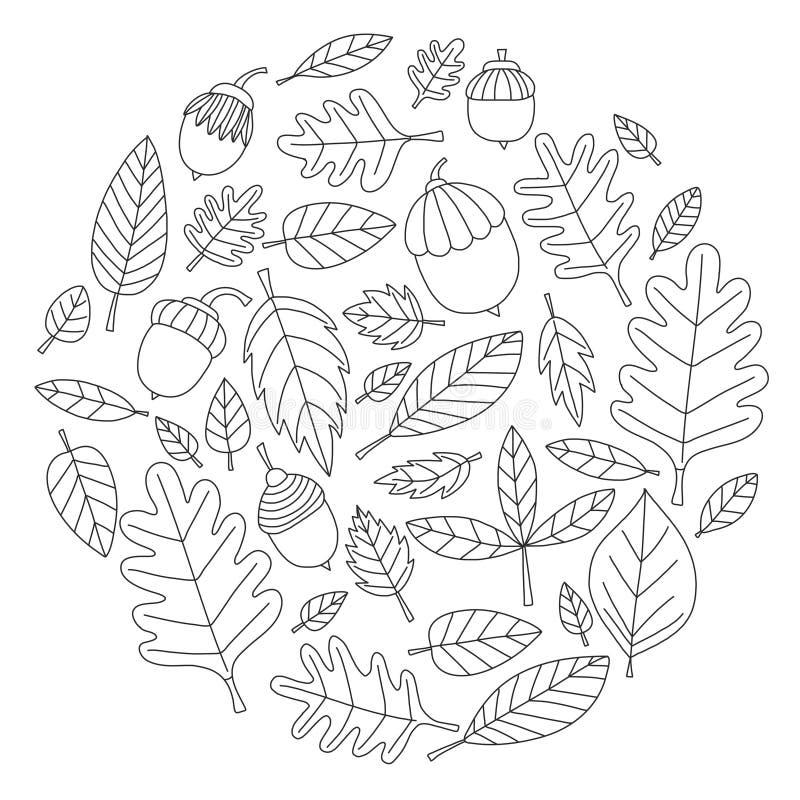 Modelo con el tilo de la bellota del arce del roble de las hojas de otoño ilustración del vector