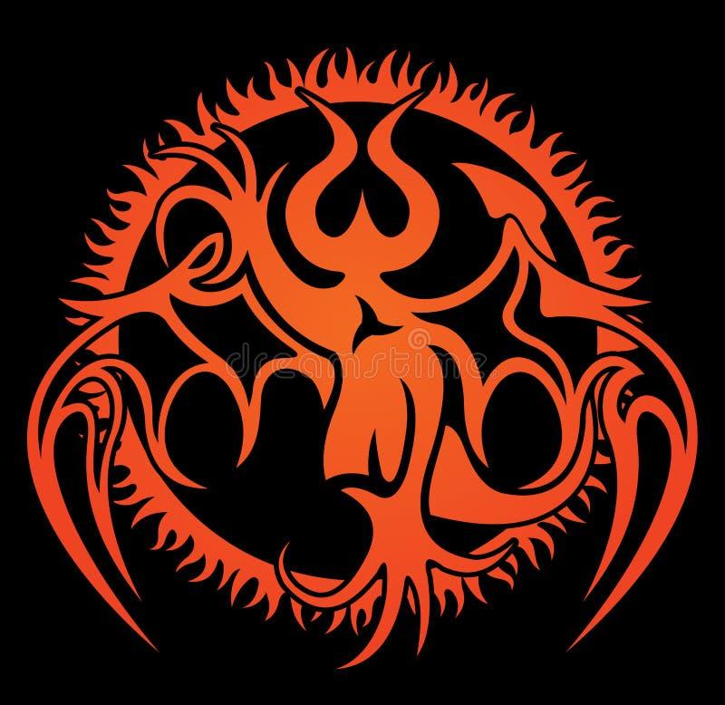 Modelo con imagen del demonio y el círculo del fuego libre illustration