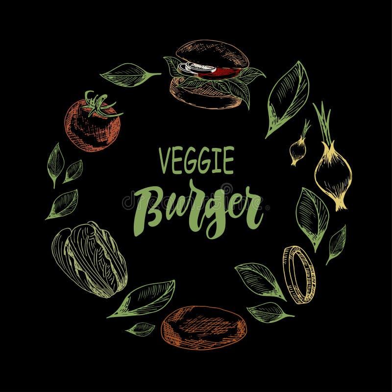 Modelo con la hamburguesa y las verduras del veggie en fondo negro ilustración del vector