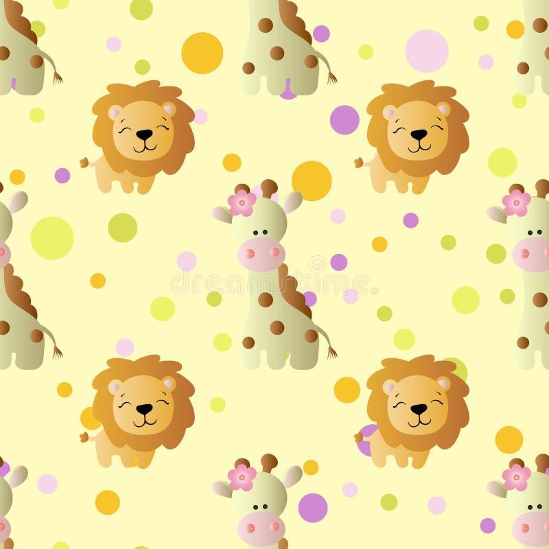 Modelo con la jirafa y el león lindos del bebé de la historieta stock de ilustración
