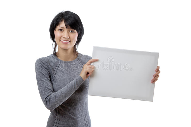 Modelo con la muestra en blanco fotografía de archivo