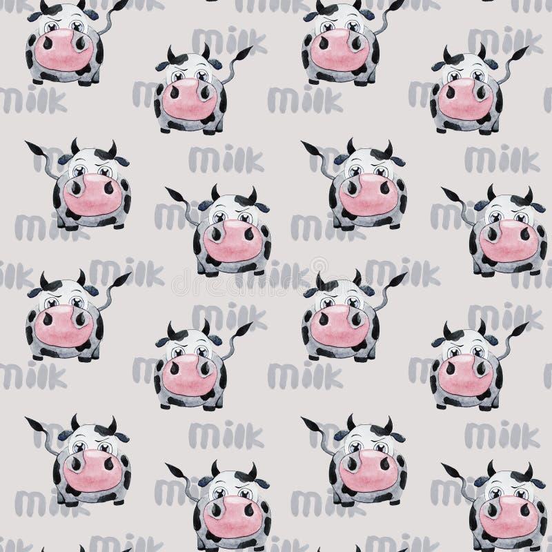 Modelo con la vaca ilustración del vector