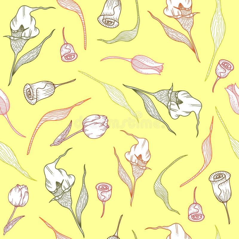 Modelo con las calas, los tulipanes y las hojas en colores pastel stock de ilustración