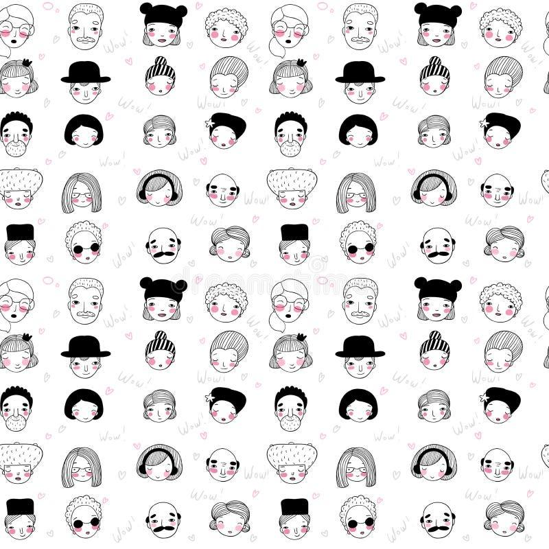 Modelo con las caras gráficas Ilustración del vector Conjunto de iconos de la gente stock de ilustración