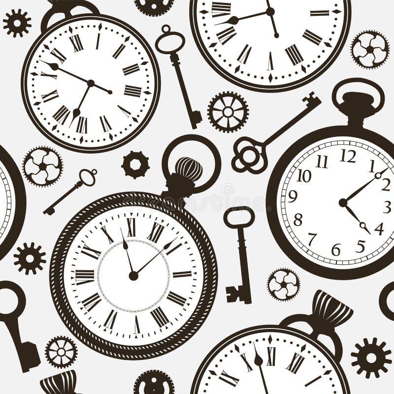Modelo con las caras y las llaves de reloj viejas y modernas stock de ilustración