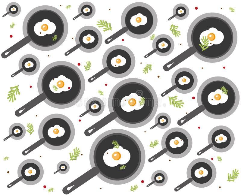 Modelo con las especias, huevo frito de la comida en un sartén en el fondo blanco Ornamento para la materia textil y envolver stock de ilustración