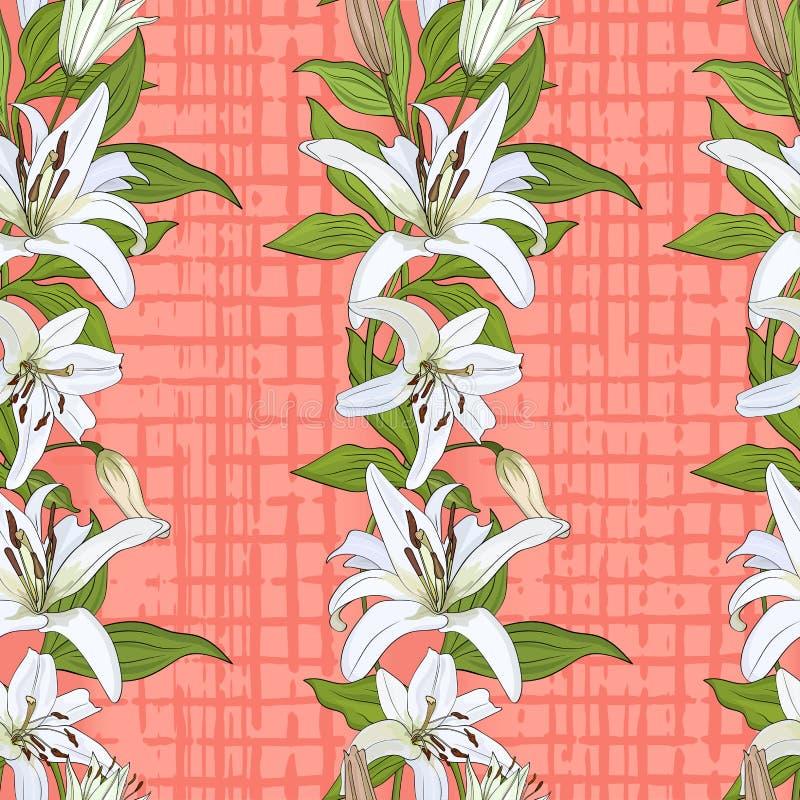 Modelo con las flores del lirio blanco en un fondo del rosado-coral stock de ilustración