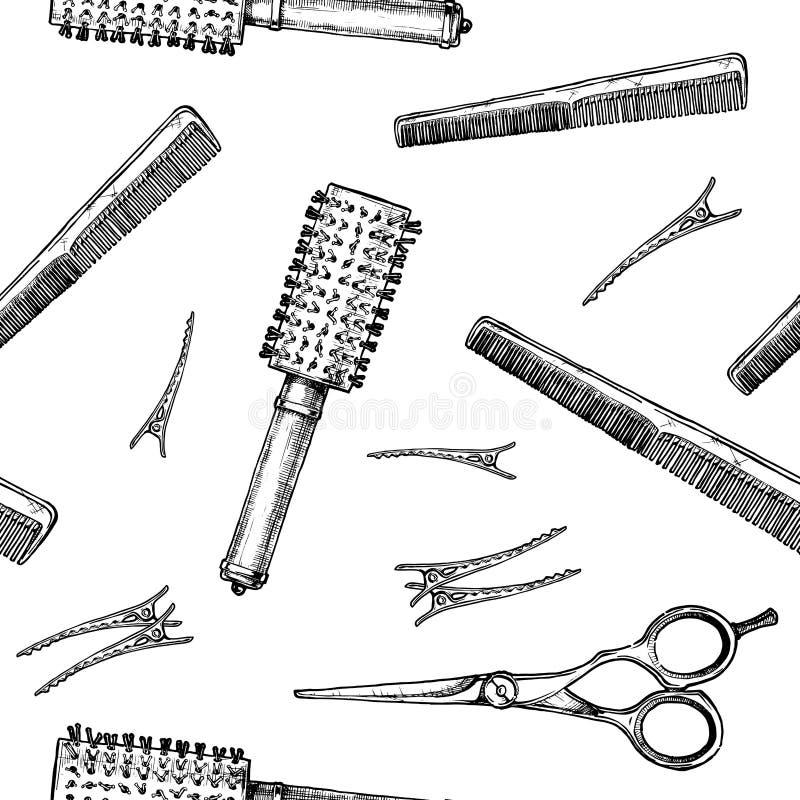 Modelo con las herramientas de los peluqueros stock de ilustración