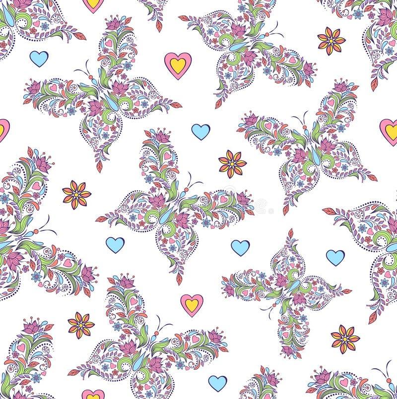 Modelo con las mariposas florales abstractas libre illustration