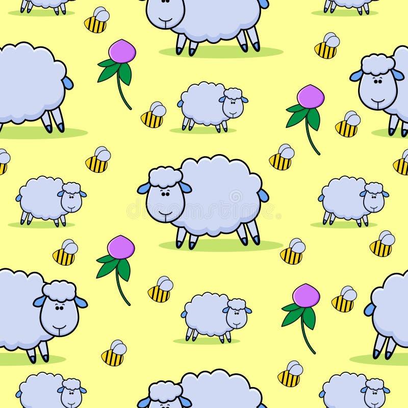 Modelo con las ovejas, los abejorros y las flores del trébol libre illustration