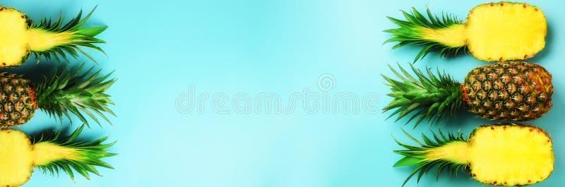 Modelo con las piñas brillantes en fondo azul Visión superior Copie el espacio Estilo mínimo Diseño del arte pop, verano creativo foto de archivo libre de regalías
