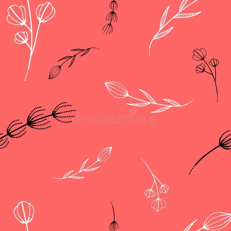 Modelo con las ramas en un fondo del rosa en colores pastel libre illustration